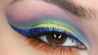 Bright eyeshadow with glitter! Eye makeup tutorial! A collab with MacuMish! Thumbnail