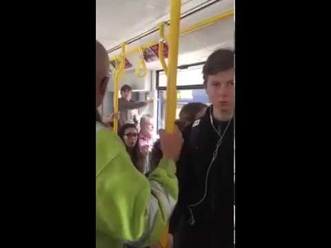 """""""GO BACK TO AFRICA"""" RACIST English CHAVS on a tram in Manchester, England JULY 2016"""
