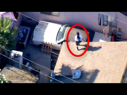 Woman's Insane Acrobatics as She Eludes Cops
