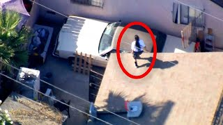 Woman's Insane Acrobatics as She Eludes Cops