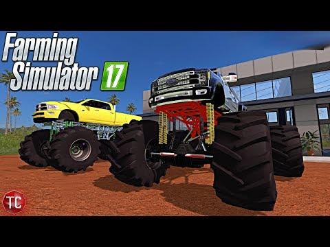 Farming Simulator 2017: MONSTER TRUCKS!! 6.7 Cummins vs 6.7 Powerstroke + HUGE JUMPS!!