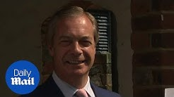 Brexit Party leader Nigel Farage casts his vote in the EU elections