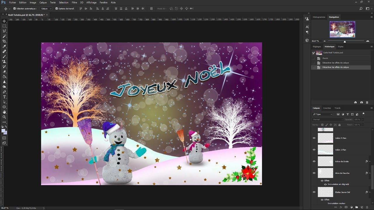 Tutoriel Photoshop cc 2017..Faire une Carte de Noël   YouTube