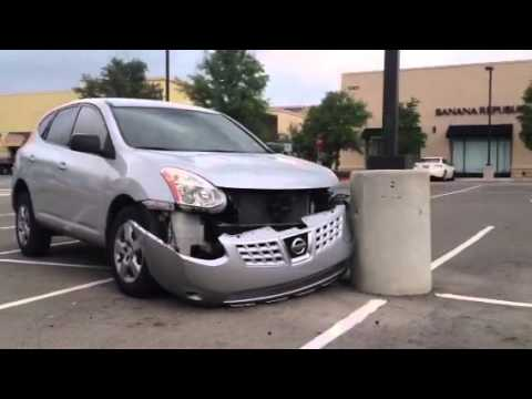 Car Crashed Into A Pole In Parking Lot Youtube