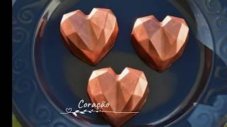 Coração Lapidado para o dia das mães - Trufa de chocolate com caramelo e castanhas do  Pará