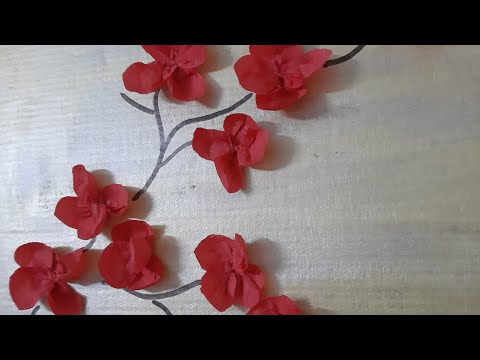 Wall decor ideas.#cardboard wall decor#easy wall hanging#crepe paper flower.