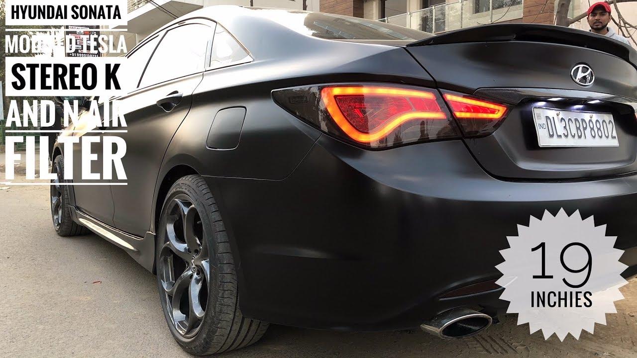 Hyundai Sonata Modified 19 Alloy Wheels Tesla Style Music System Satin Black Wrap Dsp