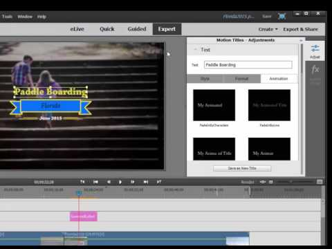 Motion Titles In Premiere Elements 14
