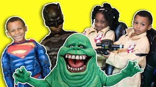 Ghostbusters Saves BATMAN, Hulk, and Iron Man from Ghosts ⎜ZZ Kids TV