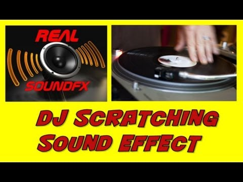DJ scratching a record on turntable sound effect ...