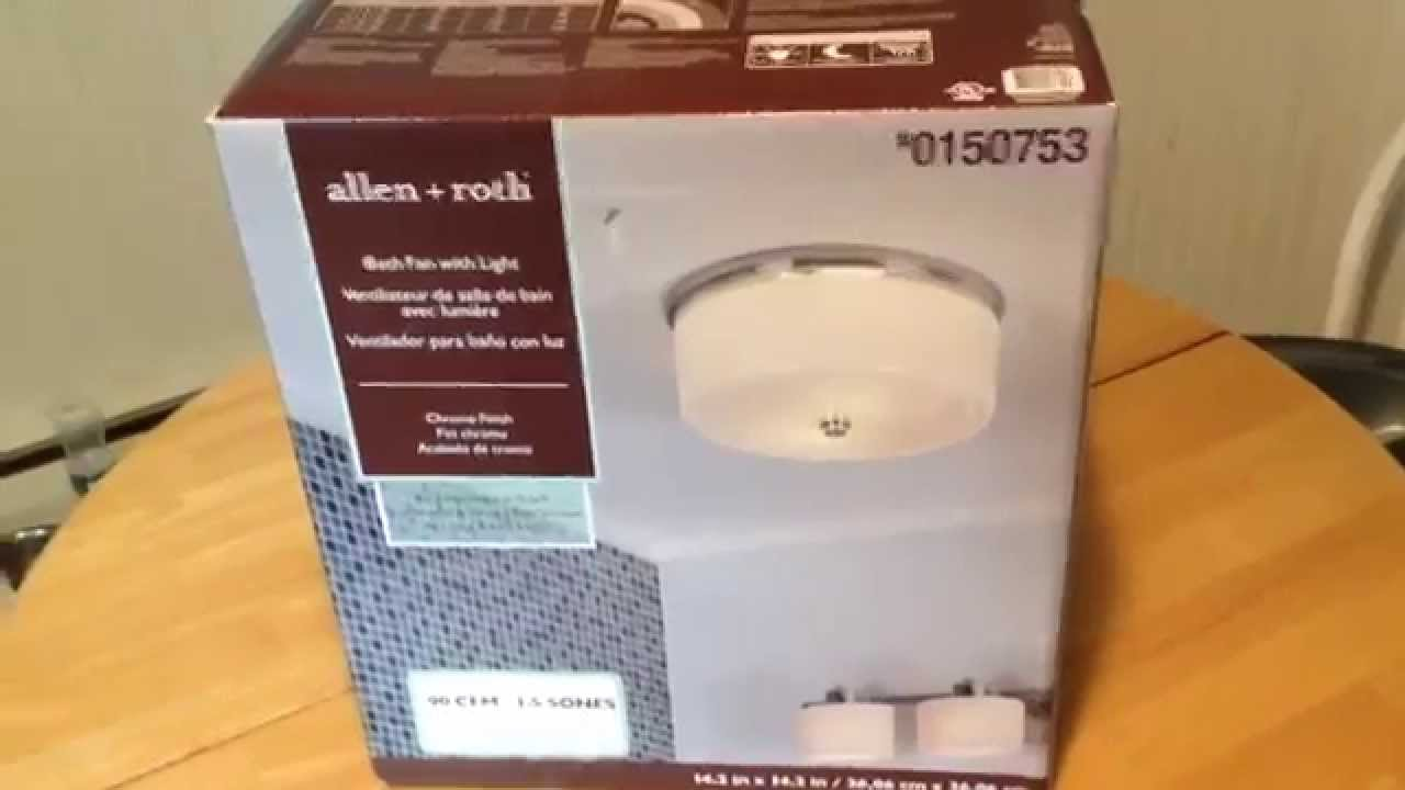 Allen roth 15 sones 90 cfm bathroom exhaust fan light allen roth 15 sones 90 cfm bathroom exhaust fan light unpackaging lowes youtube mozeypictures Images