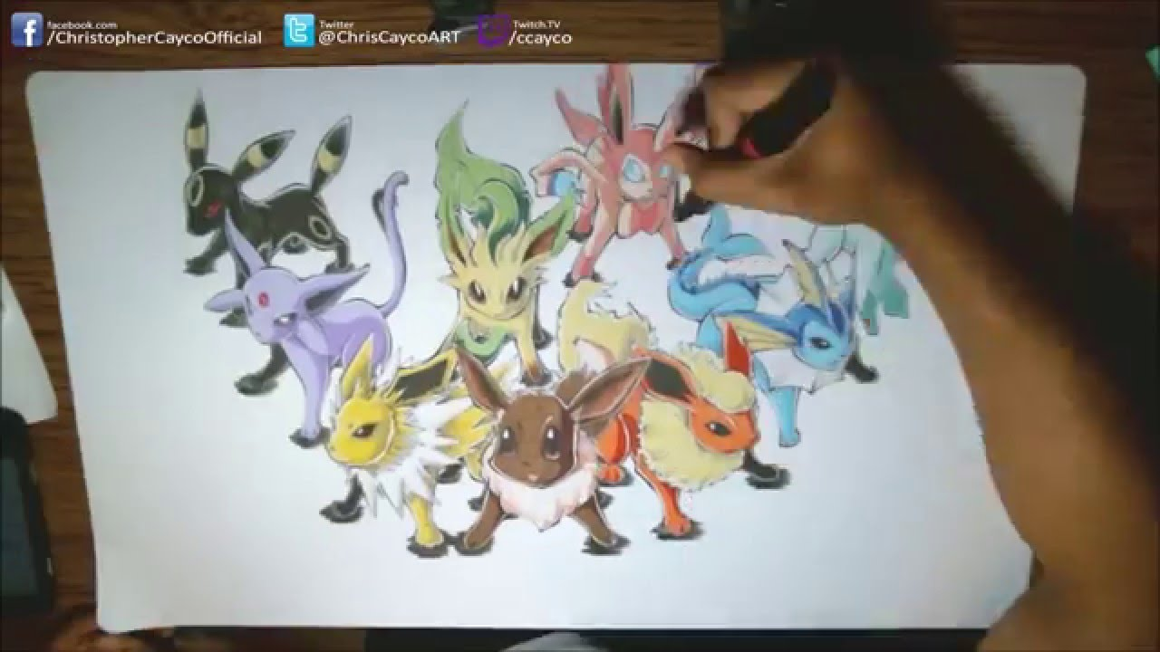 Drawing Pokemon Eeveelutions Playmat Playmat Youtube