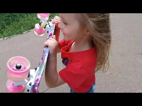 Мой Новый СКЕЙТ ПЕННИ БОРД со светящимися колесами Трюки на скейте Skate Penny board