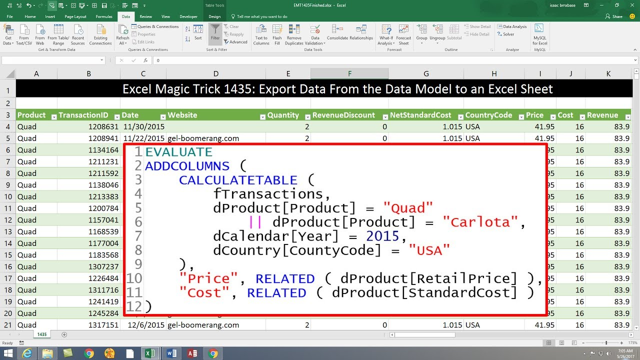 Excel Magic Trick 1435: DAX Query to Export Data from Data Model to Excel  Sheet & Much More!