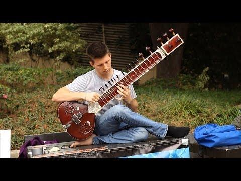 Student serenades Bruin Walk with sitar