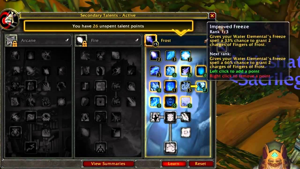 frost mage pve talents
