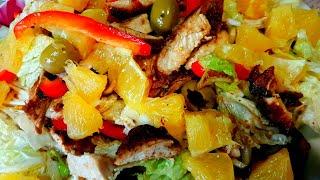 Легкий Салат с курицей и апельсином
