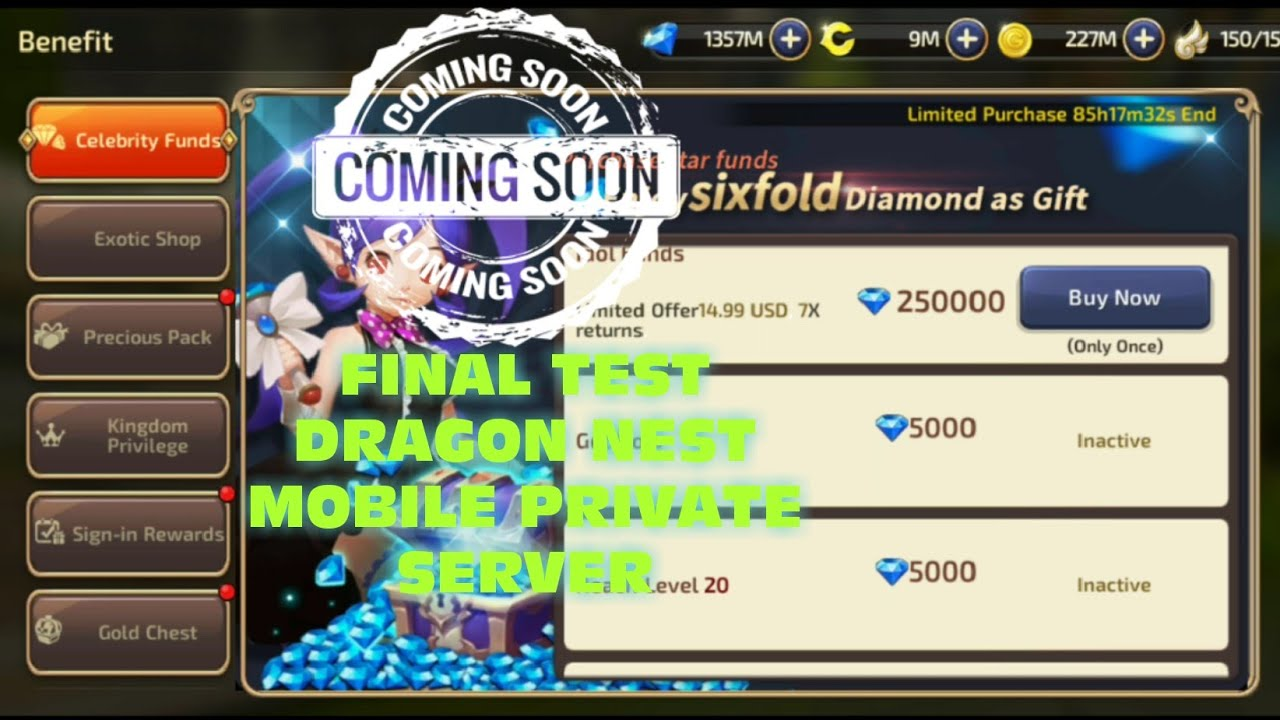 Final Test and Preview Feature in Game Dragon Nest Mobile Private Server  2019
