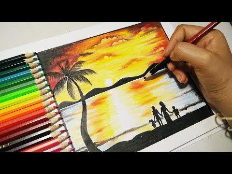 วาดภาพวิวทะเลปิดเทอมแสนสุข How to draw Sea Scanary