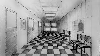 How to draw - One point perspective, corridor of hospital, waiting hall