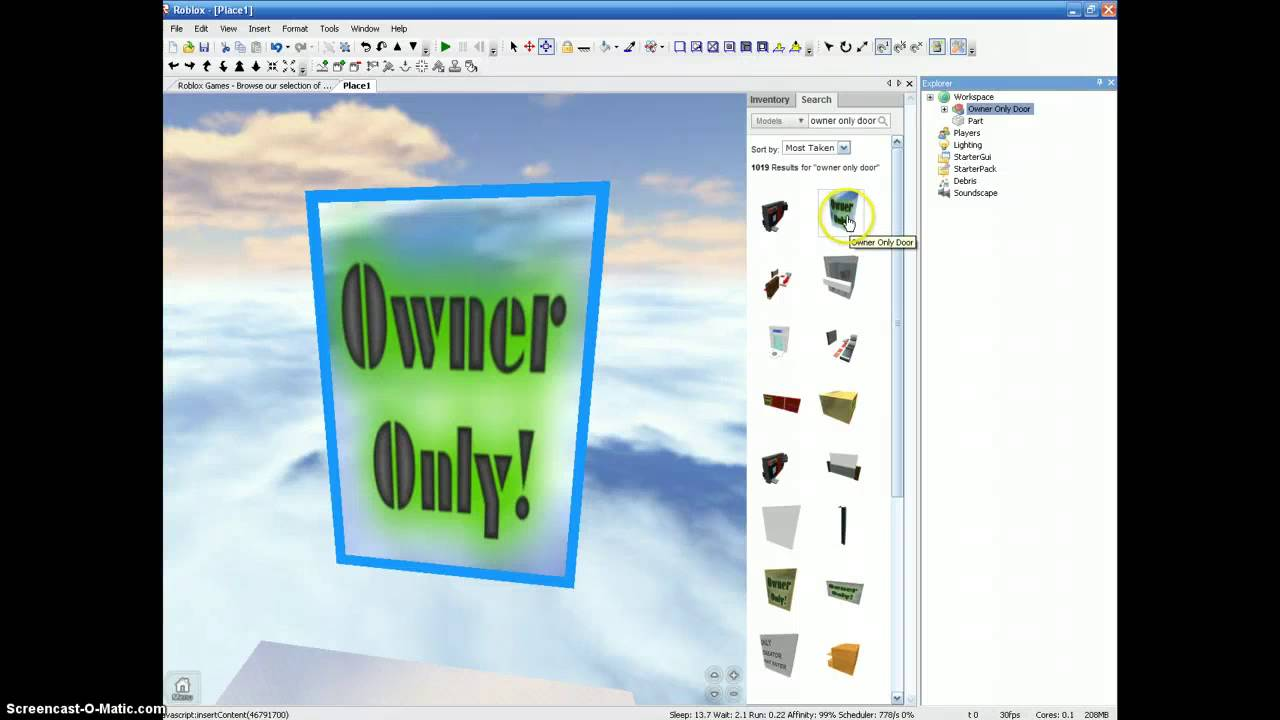 Sarah S Roblox How To Make A Owner Only Door Youtube