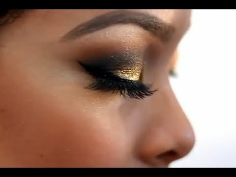 Gold Glitter Smokey Eye Makeup Tutorial