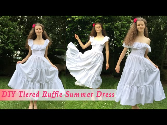 How to Sew a Summer Dress: Sewing a Shirred Tiered Ruffle Summer Sundress from Rectangles | Tutorial