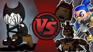WHY DOES BENDY ALWAYS LOSE?!? (Bendy is weaker than Freddy, Splatoon, Mama, and FNAF?!?) Bendy vs 🐻