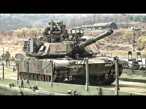 U.S. Army Builds Floating Bridge & Crosses It With Tanks