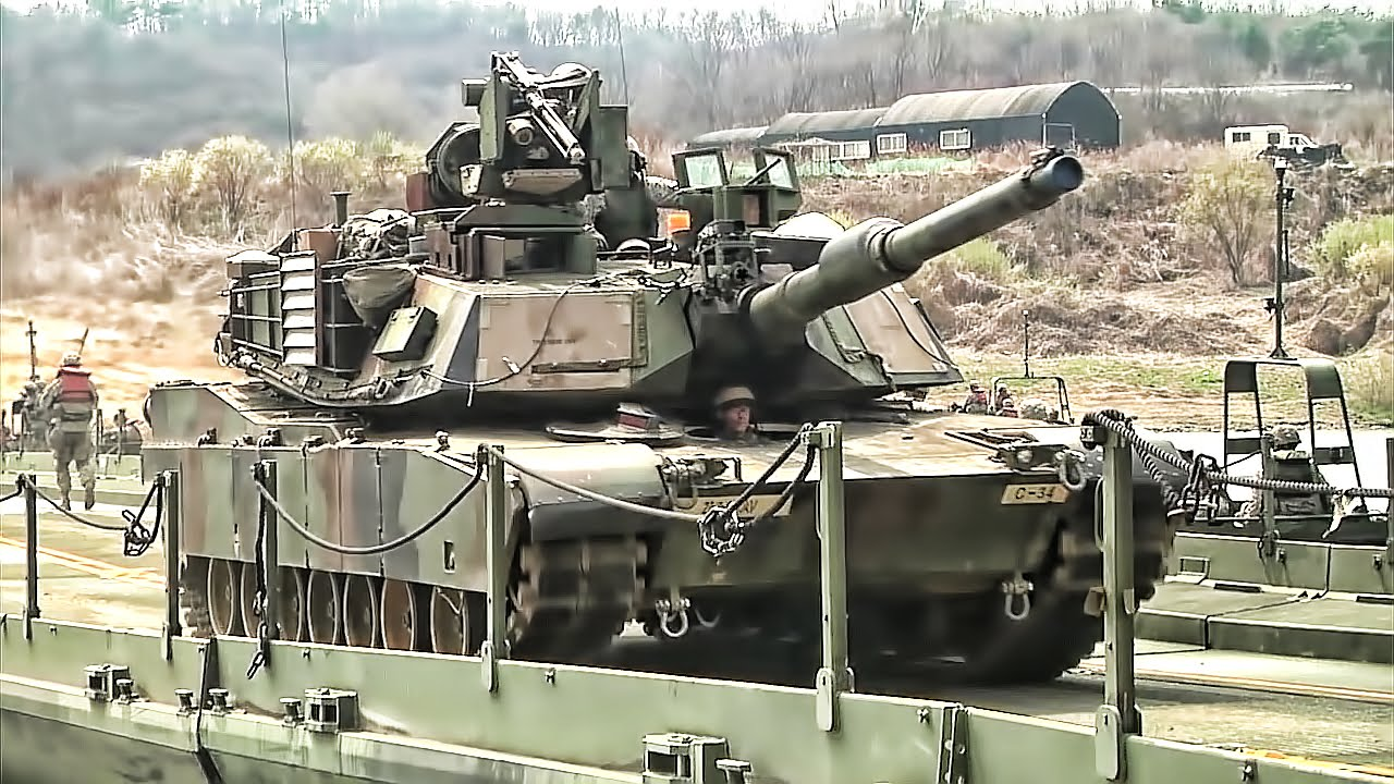 U s army builds floating bridge crosses it with tanks youtube - Army tank pictures ...