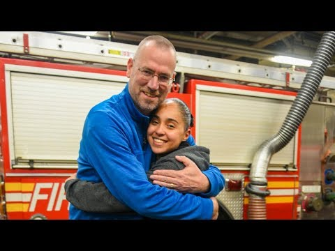 Reunion between the firefighter and the child he rescued from a burning home