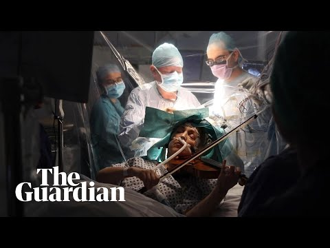 Woman plays violin while undergoing brain surgery