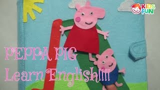 Learn Colors and English with Quiet book  Peppa Pig | Learn Colors With Animals & Shapes|