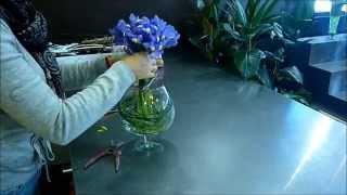 Bouquet d'iris en vase rond