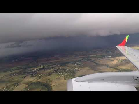 TAP E190 Landing in Toulouse in Insane Stormy Weather !!