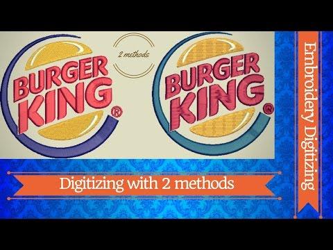 Digitize Burger King Logo With 2 Methods-Embroidery Digitizing