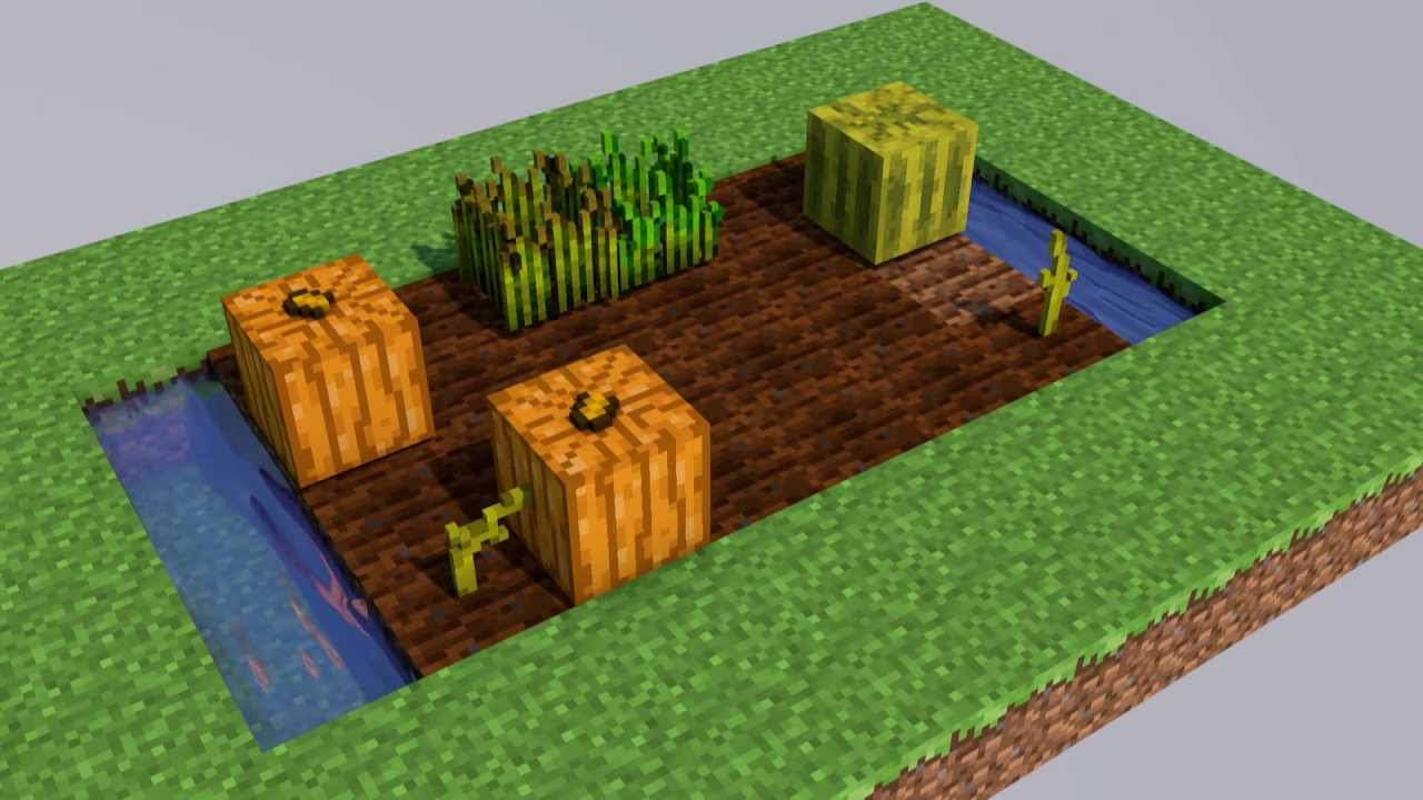 Cinema 4d Minecraft Pflanzen Wachsen Melone Kürbis Stem Youtube