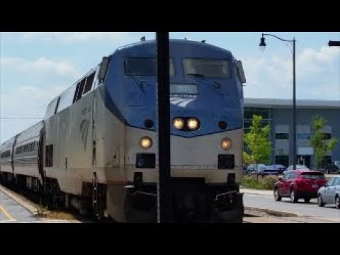 [AMTRAK]10 GE P42DC Solo Phase V Leads P090-25 NB Making A Station Stop In Fay NC & Nice K5LA