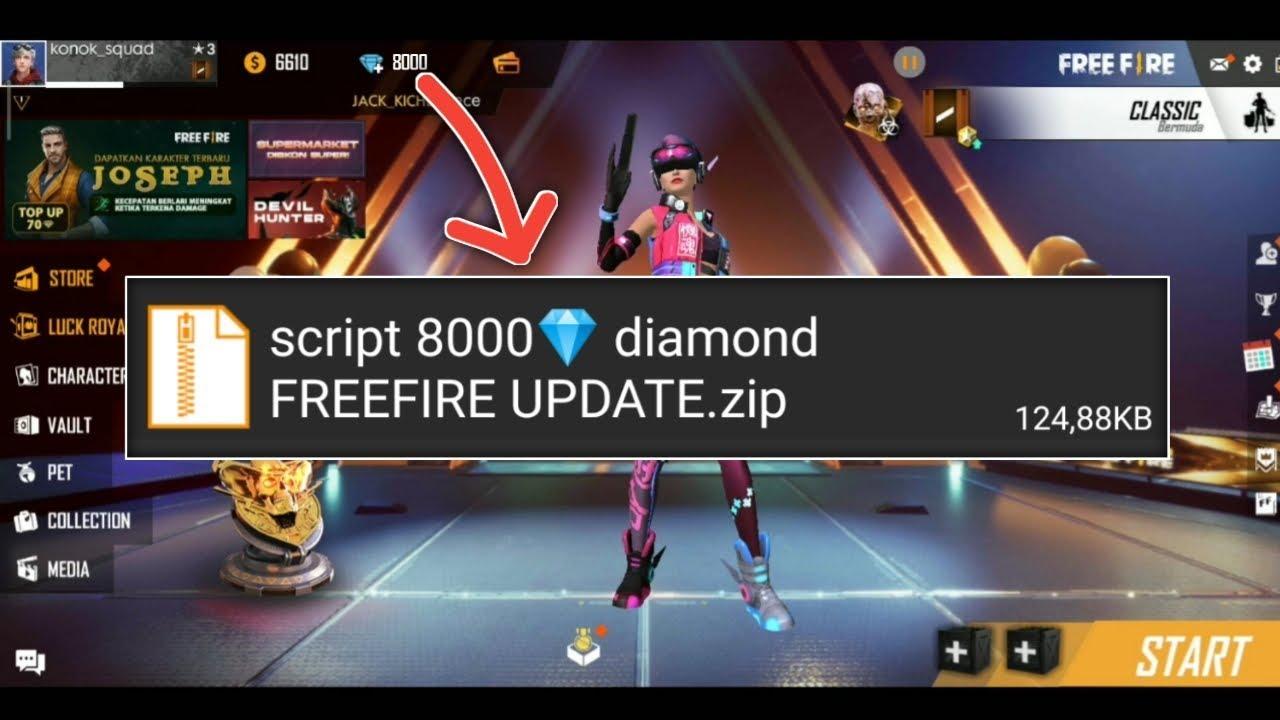 Script 8000 Diamond Freefire Update Youtube