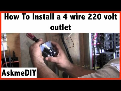 How to Install a 220 Volt 4 Wire Outlet - YouTube  V Outlet Wiring on electric outlet wiring, 110v outlet wiring, power cord, power cable, 120vac outlet wiring, electrical conduit, 230v outlet wiring, wiring diagram, 220v 20 amp receptacles, circuit breaker, ac outlet wiring, wall outlet wiring, switched outlet wiring, junction box, knob-and-tube wiring, electric power transmission, extension cord, welder outlet wiring, power outlet wiring, alternating current, electrical engineering, electric motor, 125v outlet wiring, distribution board, national electrical code, three-phase electric power, 120v outlet wiring, 250v outlet wiring, earthing system, 220v wiring-diagram, 480v outlet wiring, three phase outlet wiring, ground and neutral, dryer outlet wiring, electric power distribution,
