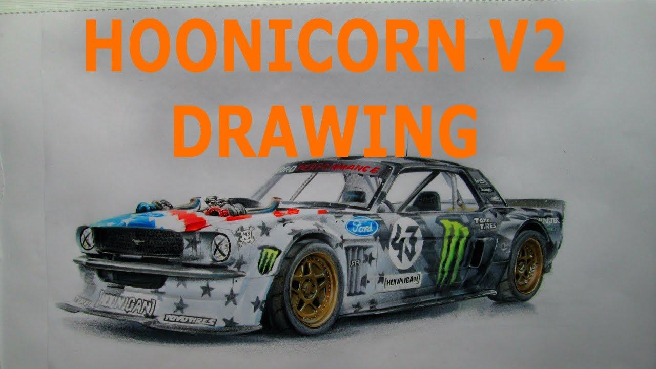 Ken Block Mustang >> Hoonicorn V2 Drawing - YouTube