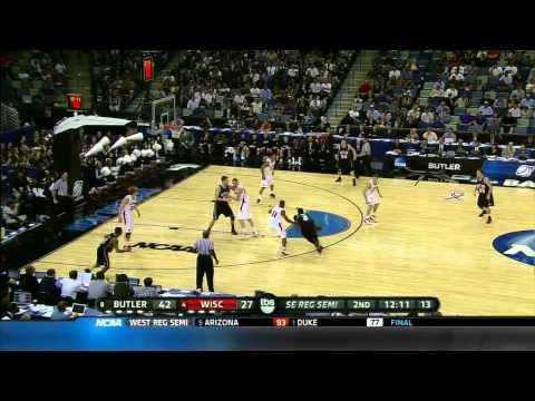 2011 NCAA March Madness Sweet 16 Butler - Wisconsin highlights. Cinderella story continues!