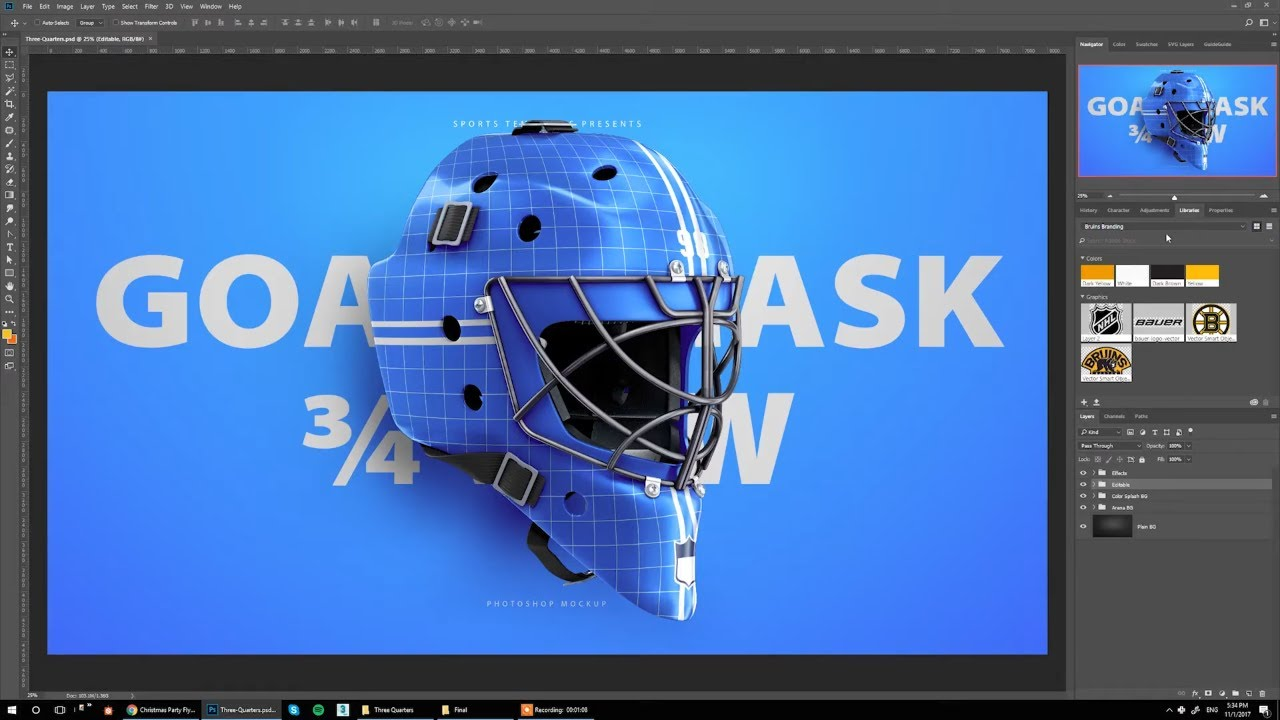 Design Bruins Hockey Goalie Mask Concept Using Photoshop Mockup