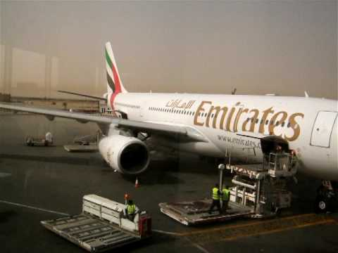 Emirates A330 at the gate in Kuwait International Airport