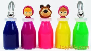 Masha and the Bear Learn Colors Milk Bottles Baby Finger Family Nursery Rhymes Surprise Egg Toys