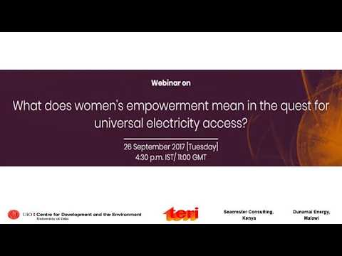 Webinar on What does women's empowerment mean in the quest for universal electricity access?