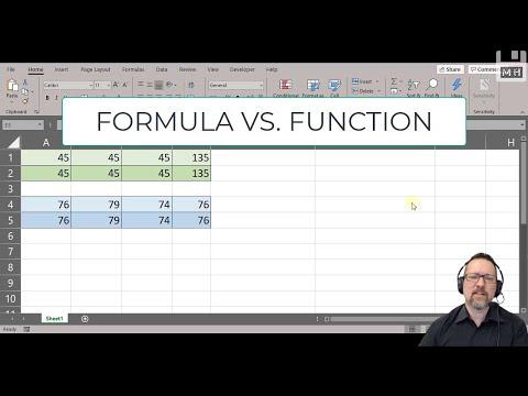 Level 1 Excel Lesson 18: Formula Vs Function
