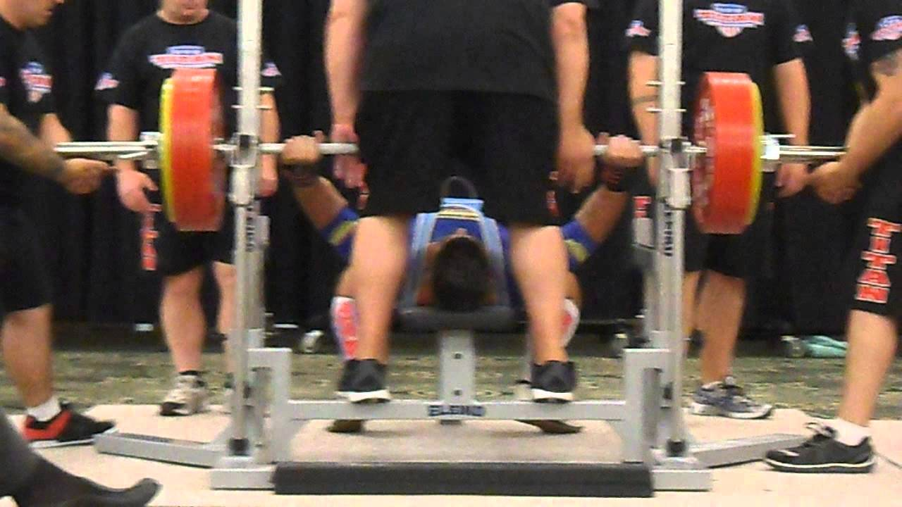 Allan grenier d velopp couch 255 kg champion du monde au texas record de france open fa youtube - Record du monde developpe couche ...