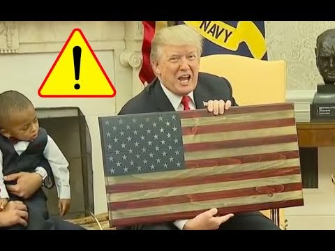 Man Hands Trump THE ONLY Wooden American Flag Made in America and NOT CHINA as a Thank You!
