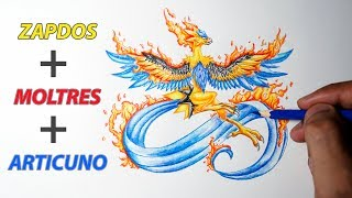 3 Legendary Birds In 1 - ZAPDOS + MOLTRES + ARTICUNO - Pokemon Fusion Drawing #21